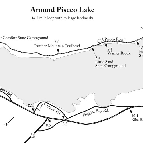 Outdoor Adventures near the Irondequoit Inn Pamphlet - Around Piseco Lake Map