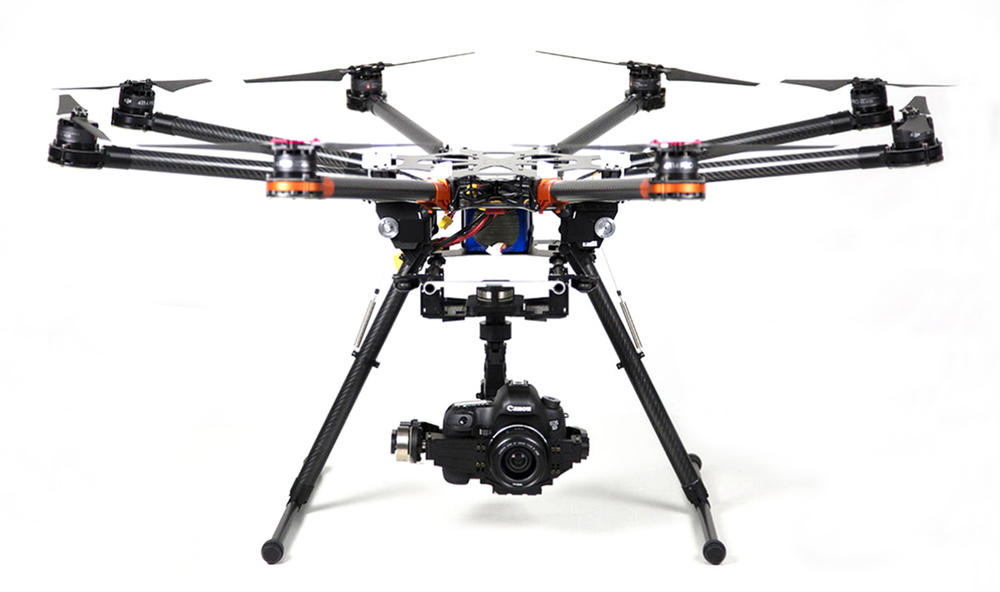 DJI S1000 Octocopter Drone with Zenmuse gimbal and Panasonic GH4 camera.