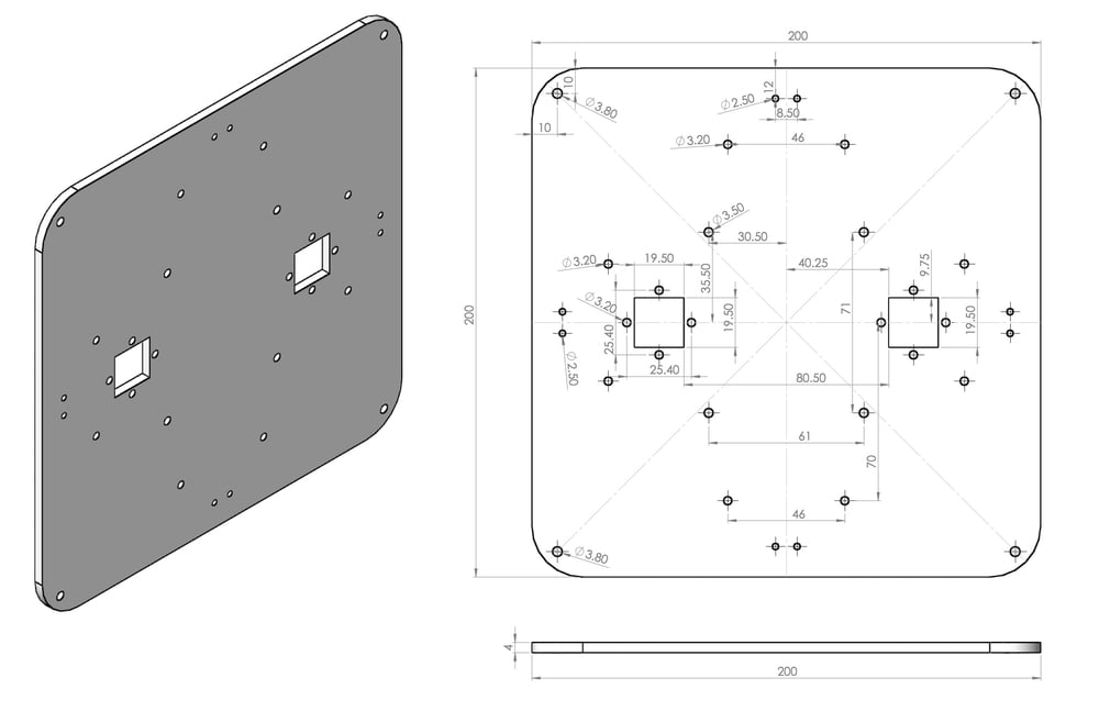 CAD drawing of bottom plate before 3D printing