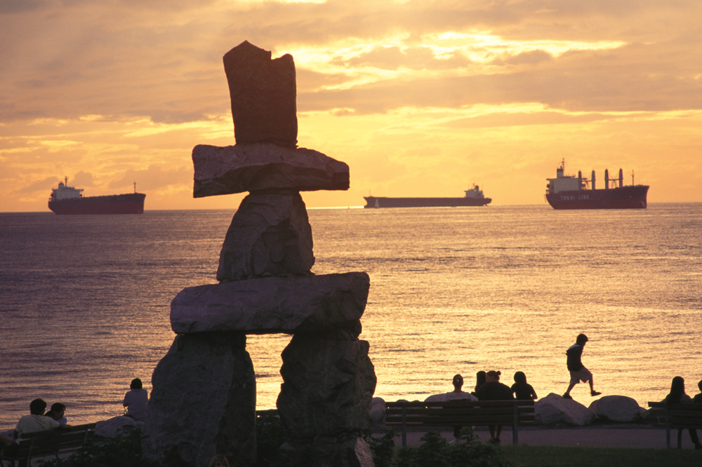 """Someone was here."" The English Bay Iinukshuk and the symbol of the Vancouver 2010 Olympics.   Photo courtesy of Tourism Vancouver  