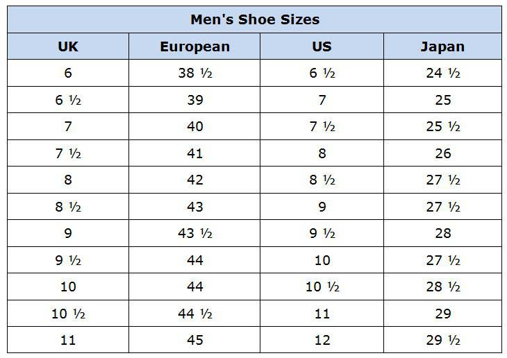 SHOE SIZES - International Conversion Tables and Charts