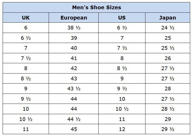 Us Men Shoe Size Chart