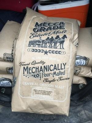 Mecca Bag Mecca Grade's Pelton malt (photo courtesy of Tualatin Valley Distilling)