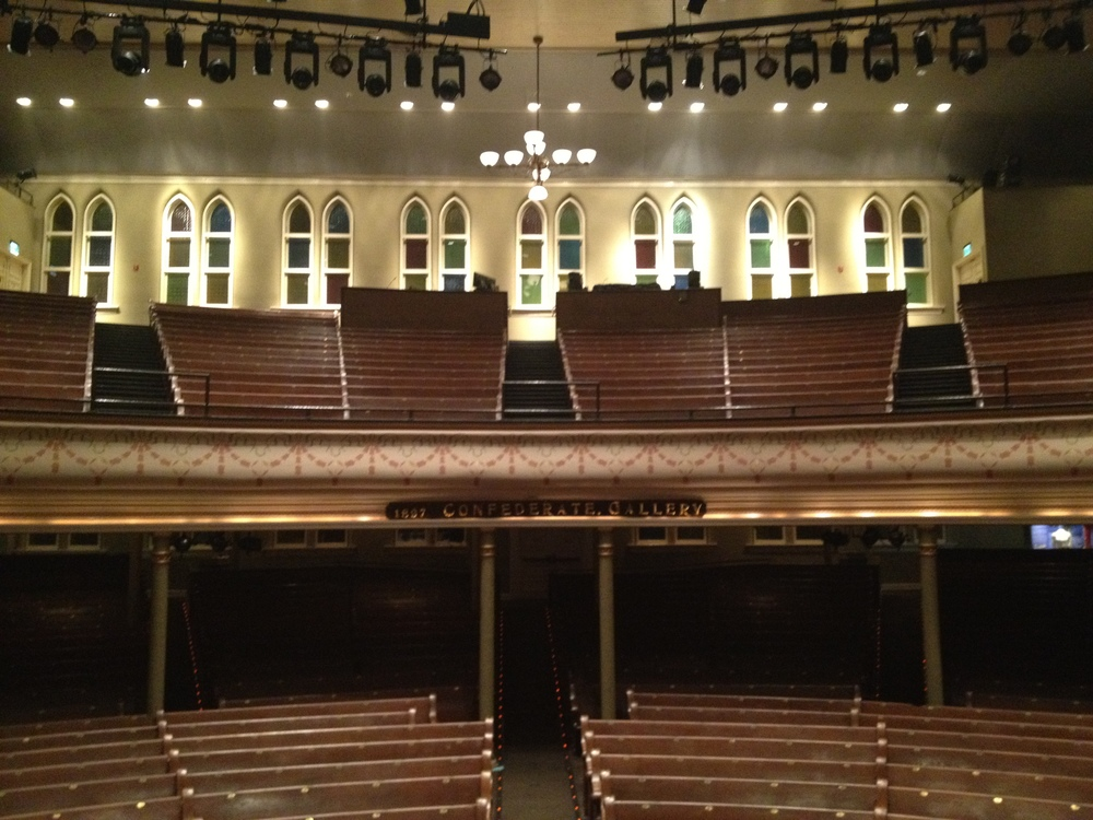 A view from center stage. Ryman Auditorium, Nashville, TN.