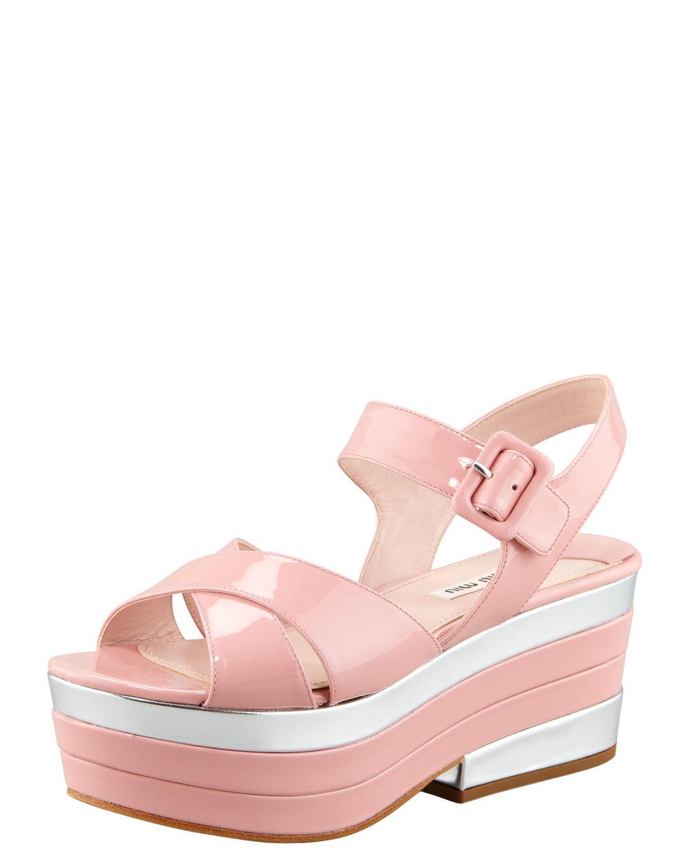 Miu Miu Patent leather sandals, on sale