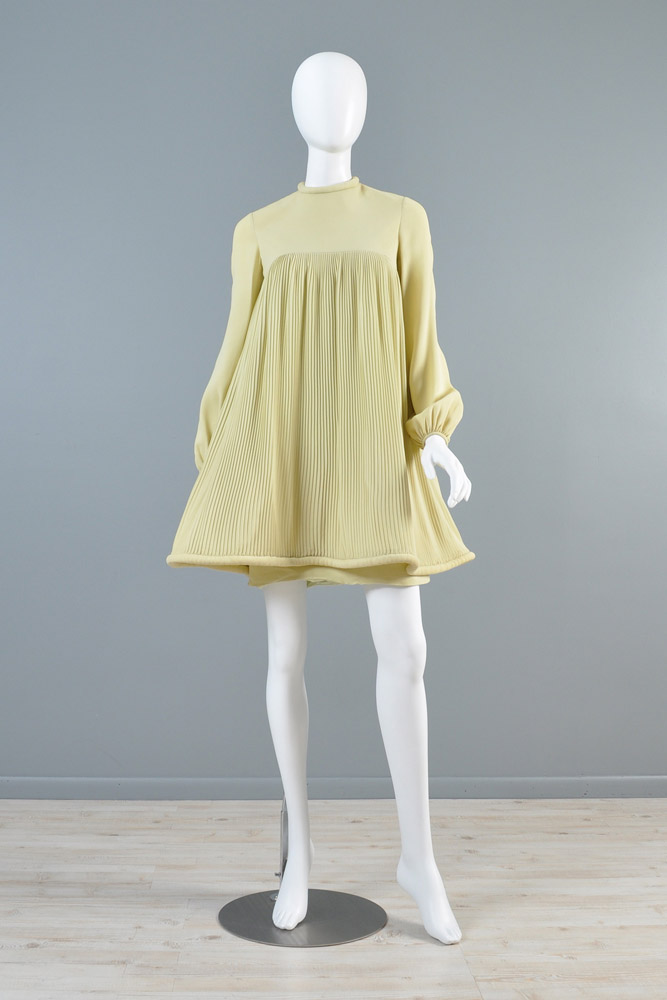 bustown-modern-vintage-pierre-cardin-chartreuse-pleated-babydoll-tent-dress-001.jpg