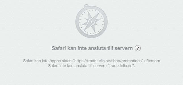 Safari kan inte nå Telias server