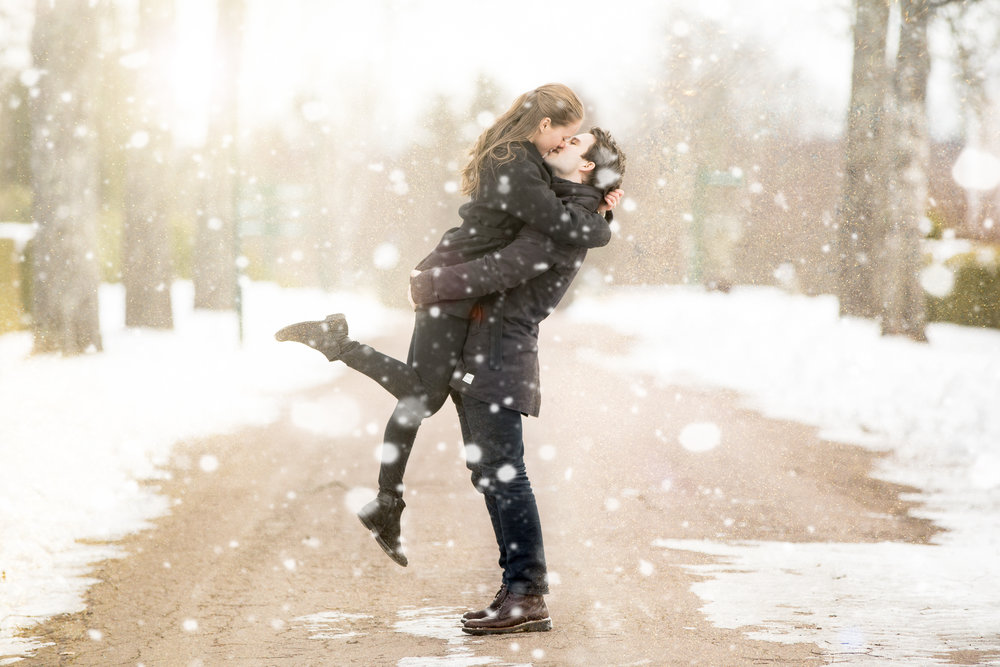 Vinterporträtt brudpar