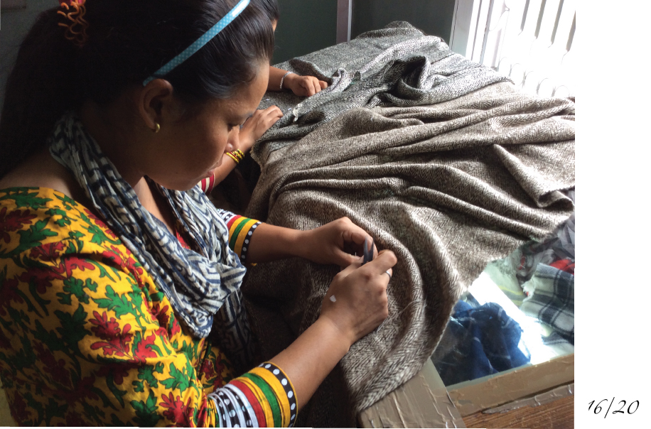 Hand finishing of our shawls