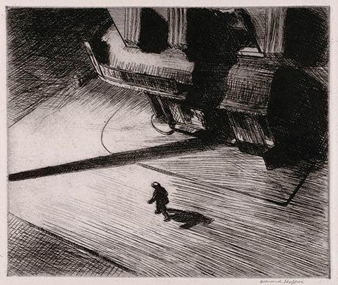 Edward Hopper,Night Shadows, 1921, Carnegie Museum of Art, Lesser Art Fund
