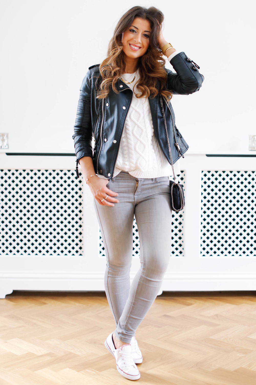 bf9d0f1678b6e In this outfit I am wearing Club Monaco sweater (similar here), 7 For All  Mankind jeans (similar here), Faux leather jacket (old - similar here), ...