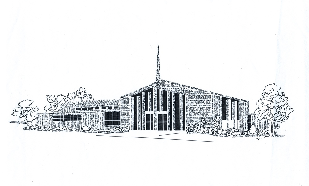 A drawing of the church composed of all the names of the original founders