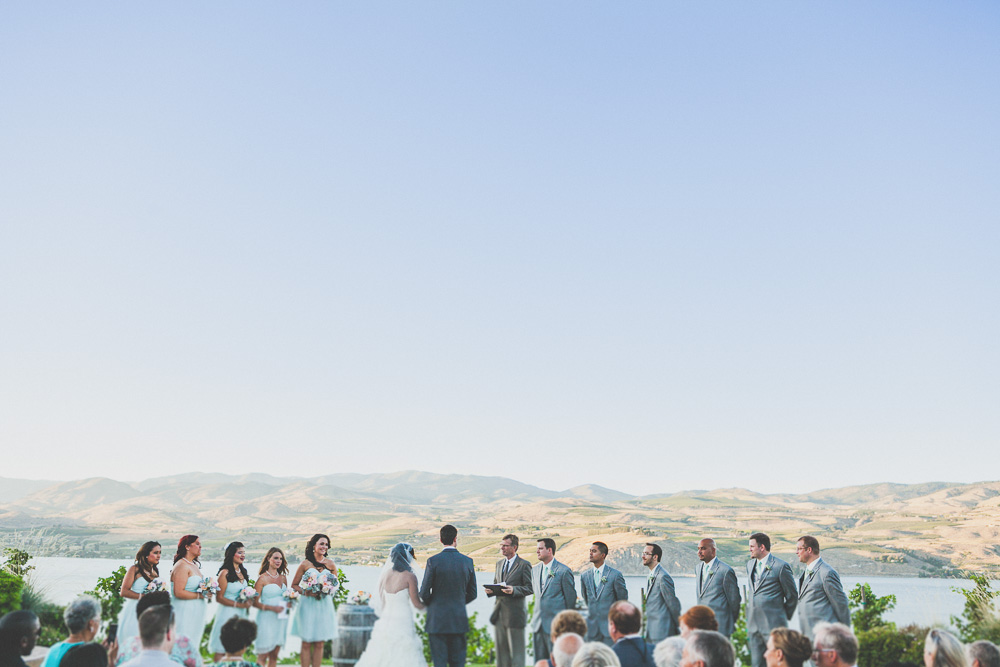 Taisha & Russell exchange vows with a view of the lake  //  Karma Vineyard, Chelan, Washington