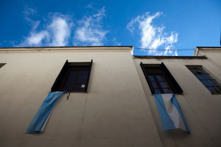 the country flag, reflecting the colors of good weather skies, fly ubiquitously  //  Buenos Aires, Argentina