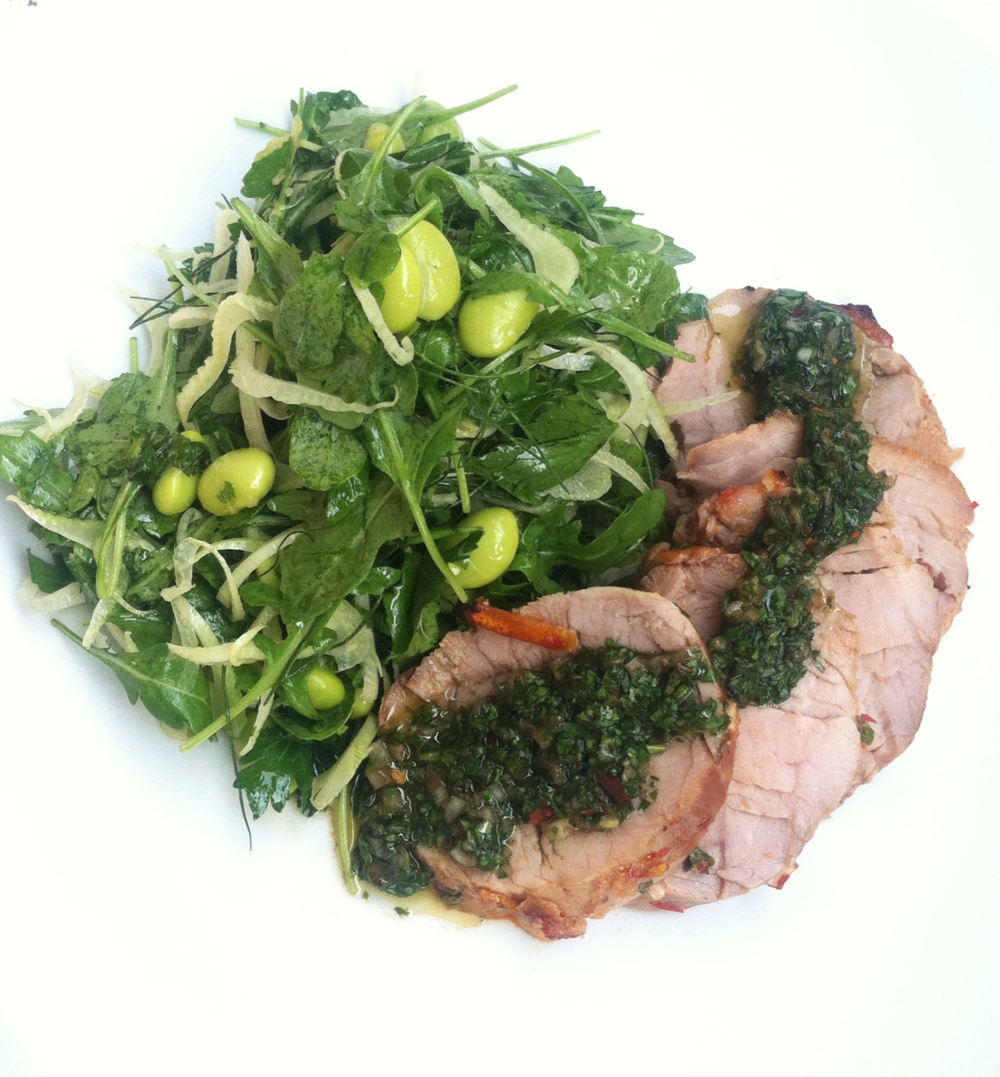 Eat this salad with anything or on its own - I enjoyed it with roasted pork tenderloin and a zippy chimichurri sauce!