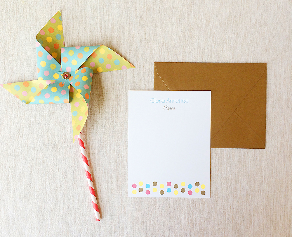 Polka Dots + Gold Personalized Stationery 01.jpg