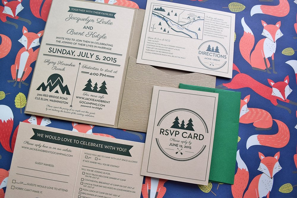 Camp Themed Wedding Invitations