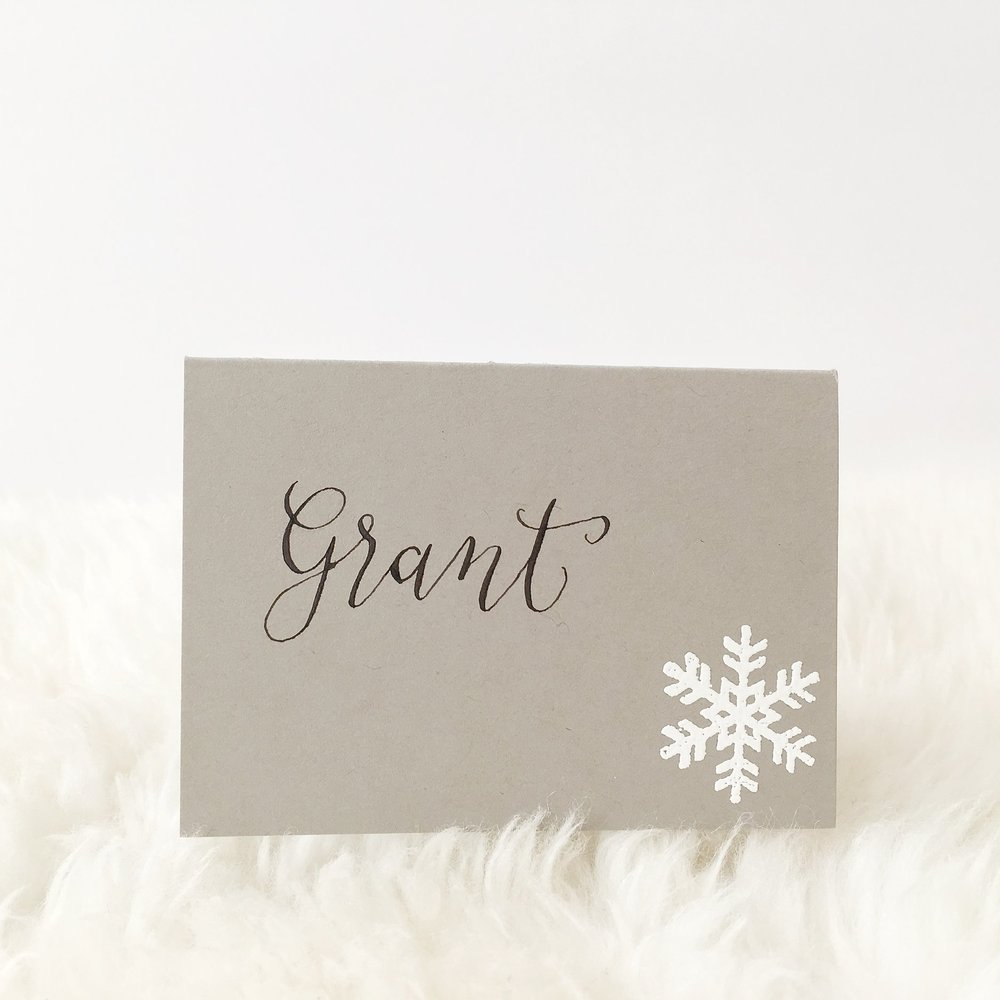 Snowflake Holiday Place Cards