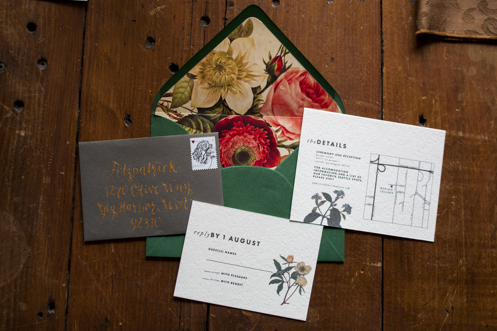 Wedding Invitation Suite | Old World Botanical Theme