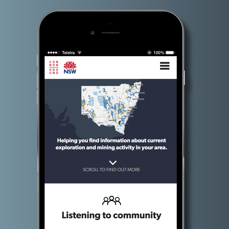 Using data narratives and participation to open government:The Making of Common Ground - Common Ground is the New South Wales Government's first community focussed open government web service, designed to help people easily access information about current exploration and mining activities in their area.