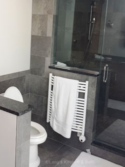 Bathroom design showing a toilet with a dividing wall and radiator style towel warmer.