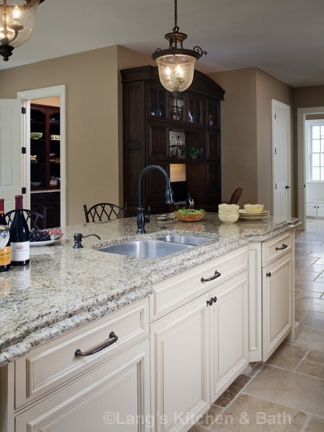Kitchen countertop with white kitchen island cabinetry.