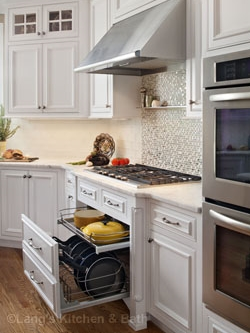 Kitchen design in Washington Crossing, PA with customized pull out drawers.