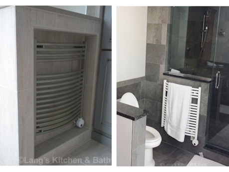 Radiator style towel warmer in Doylestown, PA and in Yardley, PA bathroom designs.