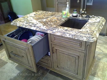 Kitchen design in New Hope, PA featuring extra sink and dishwasher drawer.