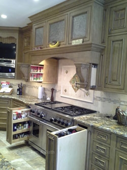 Kitchen design in New Hope, PA with extensive storage solutions including handy pull-out drawers.