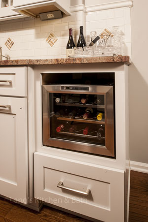 traditional kitchen design in Yardley, PA with built-in wine cooler
