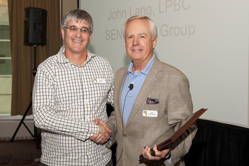 John Lang receiving the SEN Design Group Innovation Award at SEN Design 2014 Fall Conference.