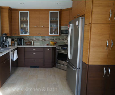 Kitchen design featuring two-tone bamboo kitchen cabinets.