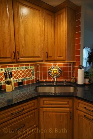 Southwestern style kitchen design with under cabinet lighting.