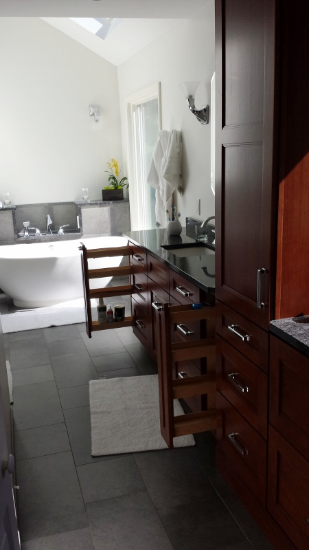Bathroom Design with specialized storage accessories.