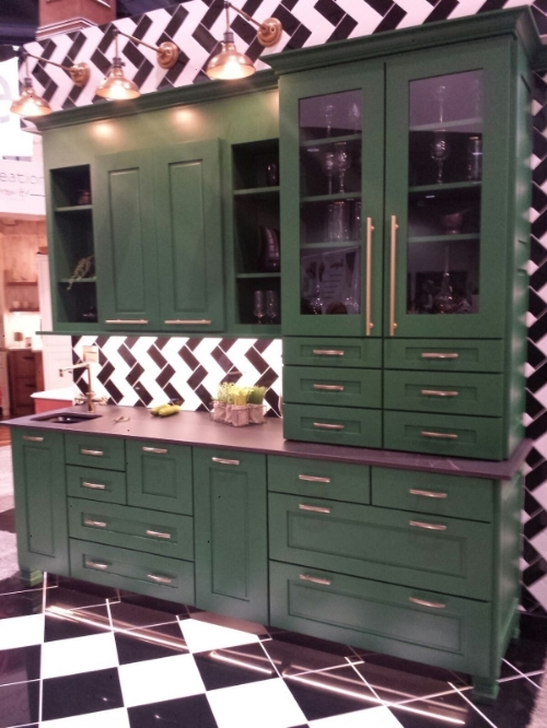 Kitchen cabinet display from Wellborn with custom paint color.