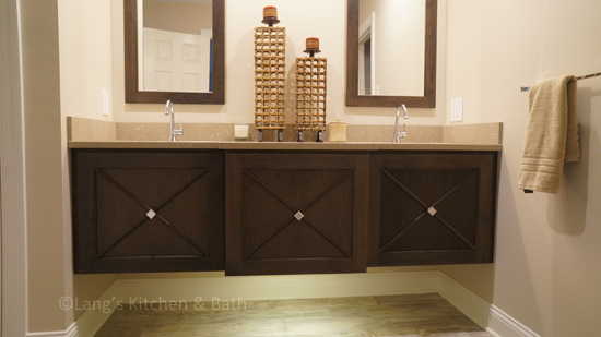 Contemporary bathroom design with floating vanity cabinet.
