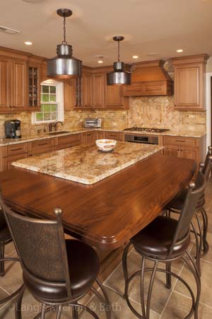 Kitchen design with wood countertop