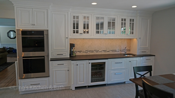 Kitchen design with beverage bar.