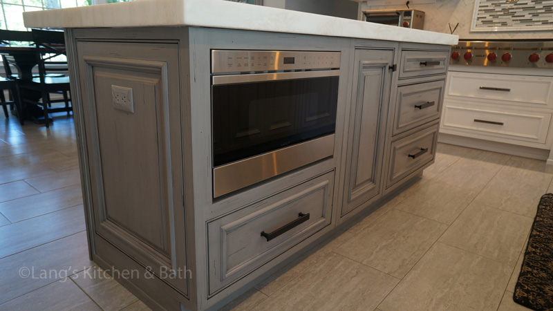 Kitchen design with undercounter built in microwave