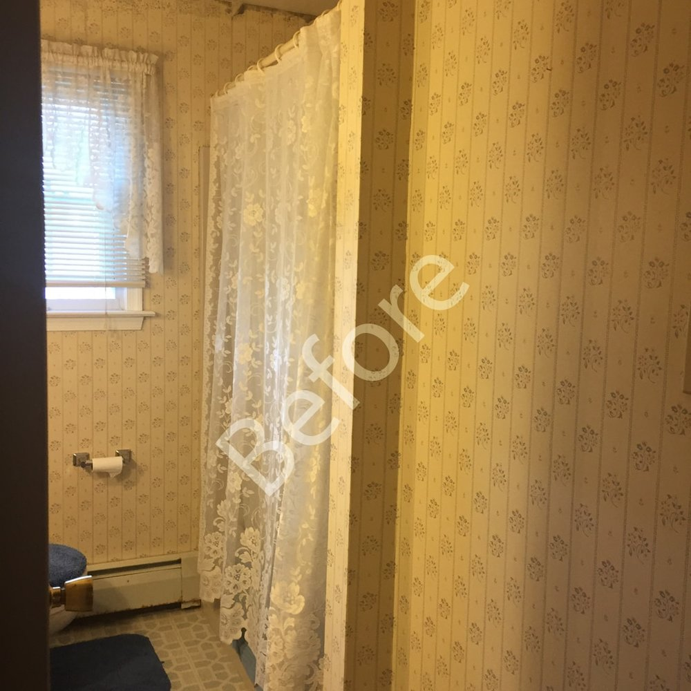 master bath before picture with bathtub shower combination