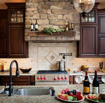 Kitchen design with stone hood