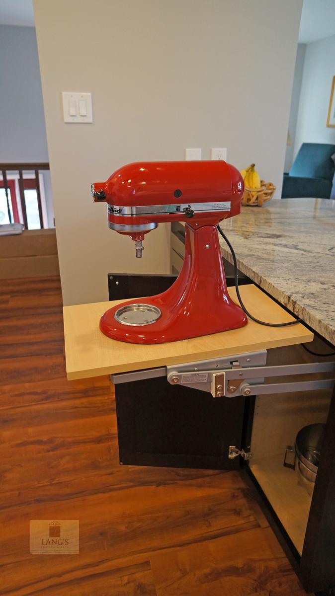 Kitchen design with mixer pop up shelf