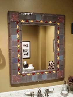 Bath design with mirror using Moravian tile works tiles