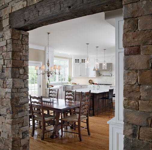 Kitchen design with stone archway