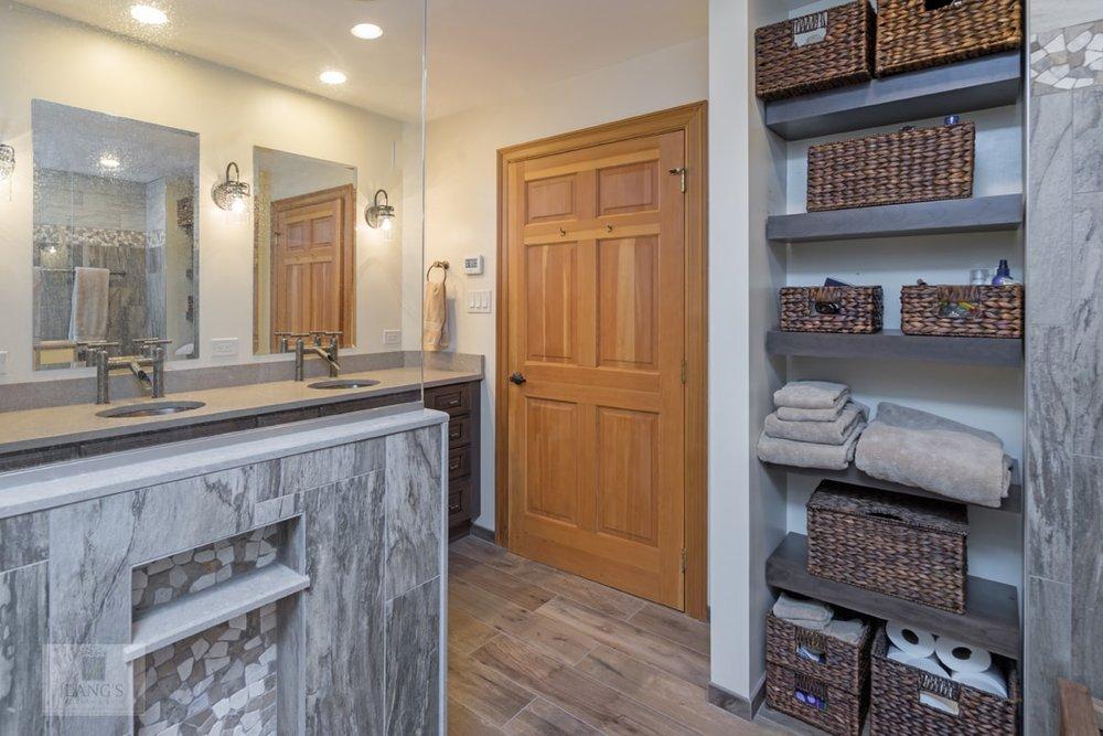 Bath design with open storage