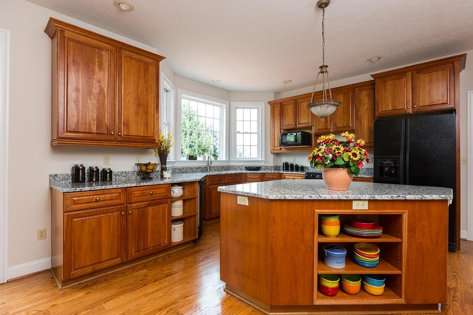 kitchen design with hardwood flooring