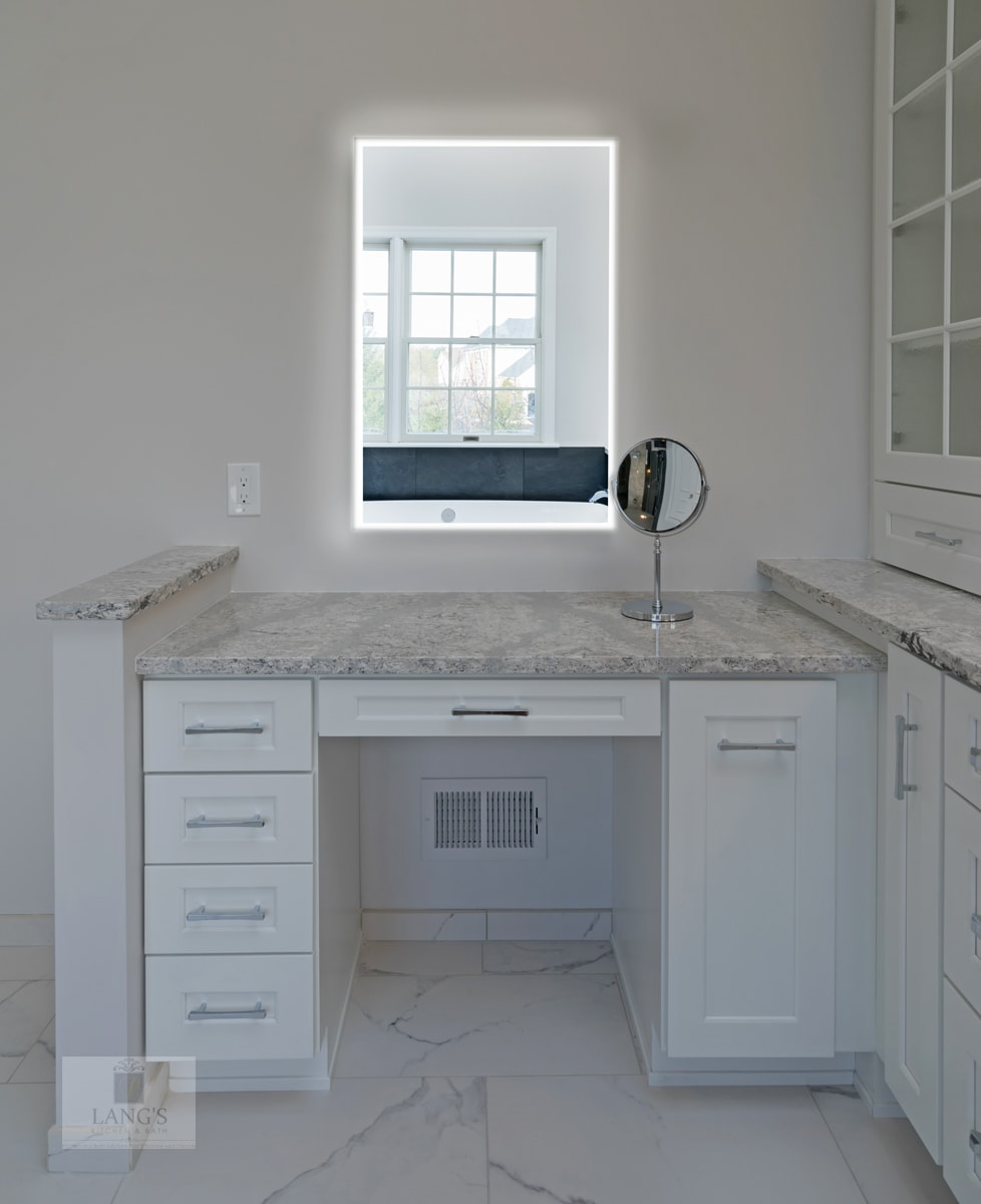 white bathroom design with make up vanity