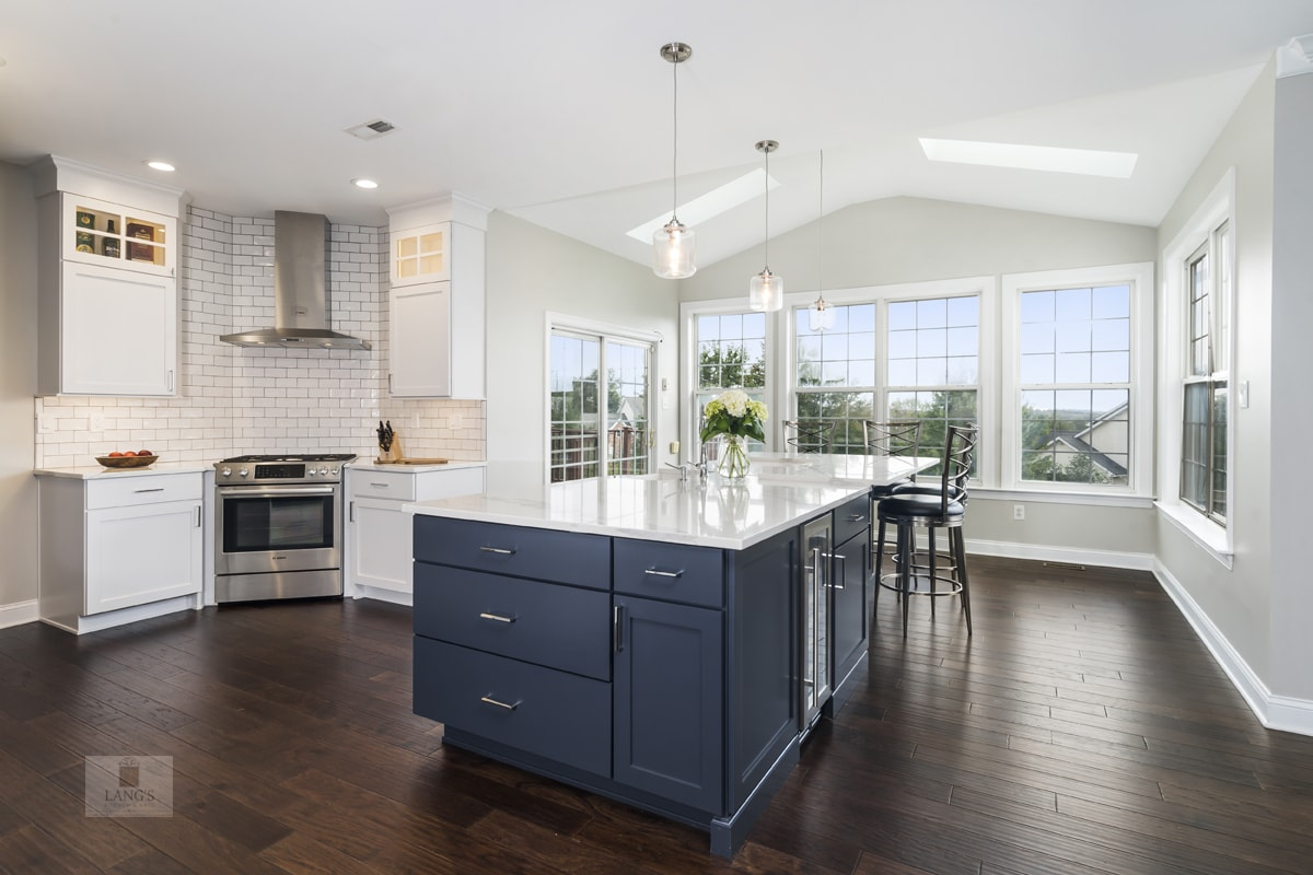 blue and white kitchen yardley | lang's kitchen & bath