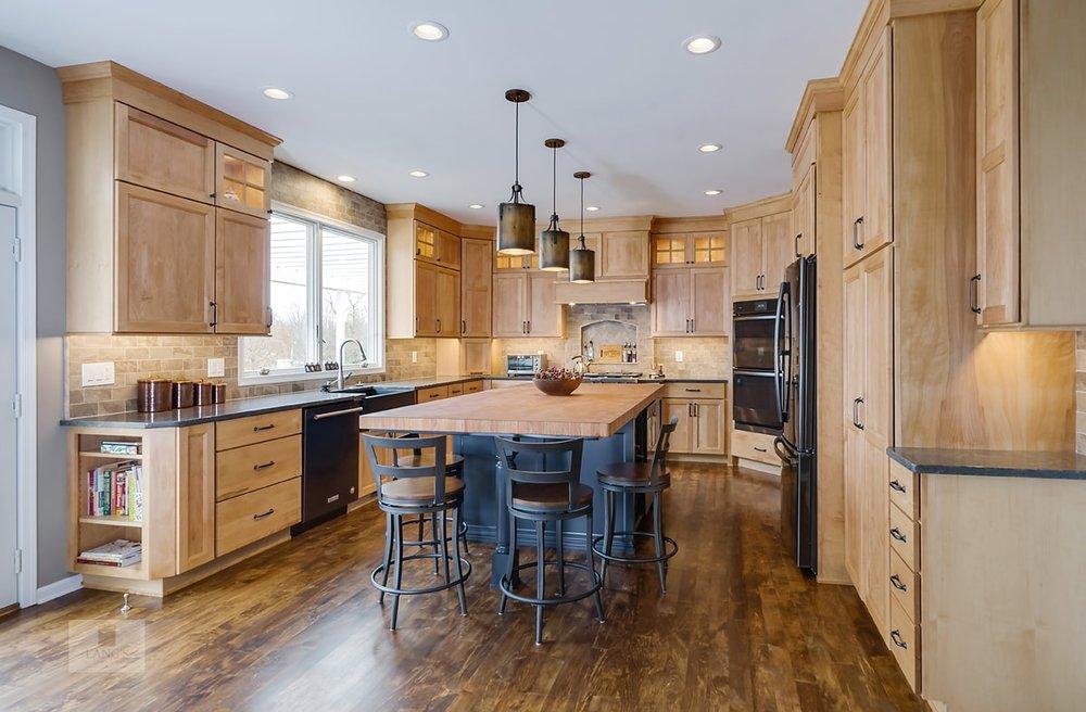 Blue and wood finish kitchen